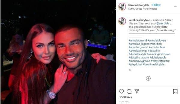 عمرو دياب و ملكة جمال لاتفيا